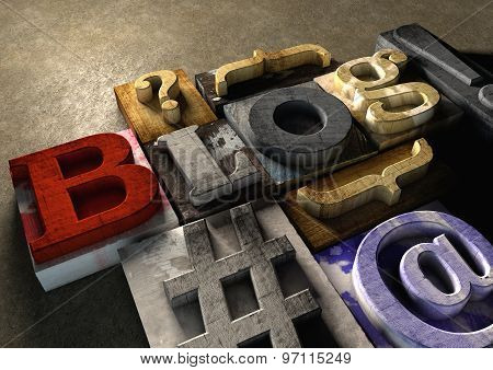Wooden Printing Blocks Form Blog Title. Concept For Blogging, Bloggers And Blogs On The Internet.