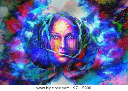 Mystic Face Women In Flwer, With Color Background Collage. Eye Contact