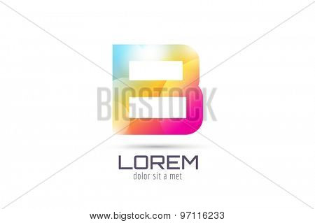 Vector B logo template. Abstract arrow shape and symbol, icon, text or creative, idea, flow. Stock illustration. Isolated on white background.