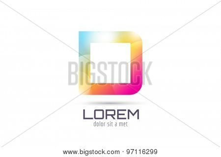 Vector D logo template. Abstract arrow shape and symbol, icon, text or creative, idea, flow. Stock illustration. Isolated on white background.