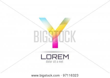 Vector Y logo template. Abstract arrow shape and symbol, icon, text or creative, idea, flow. Stock illustration. Isolated on white background.