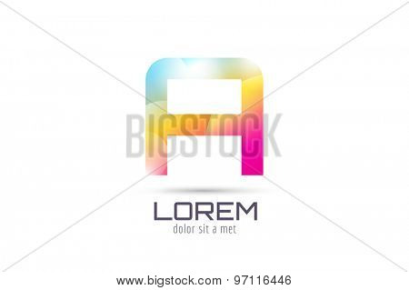 Vector A logo template. Abstract arrow shape and symbol, icon, text or creative, idea, flow. Stock illustration. Isolated on white background.