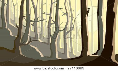 Horizontal Illustration Of Cartoon Forest On Hill.