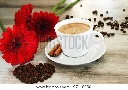 Coffee And Beautiful Flowers