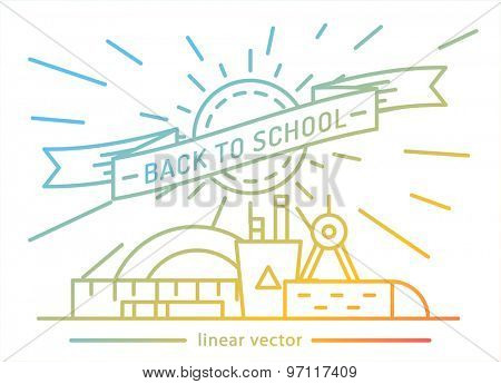 Back to school. Education, books, university and college, board or knowledge book. Stock design elements.