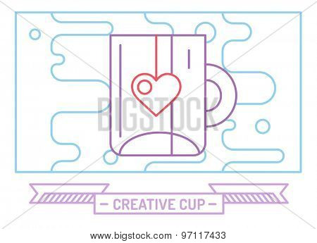 Red vector cup icon. Tea, drink, dinner and food, creative or idea, designer brainstorm. Stock design element.