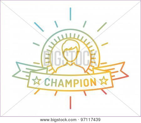 Vector linear medal logo template. Abstract human face and first, icon or frame, border, line. Stock illustration. Isolated on white background