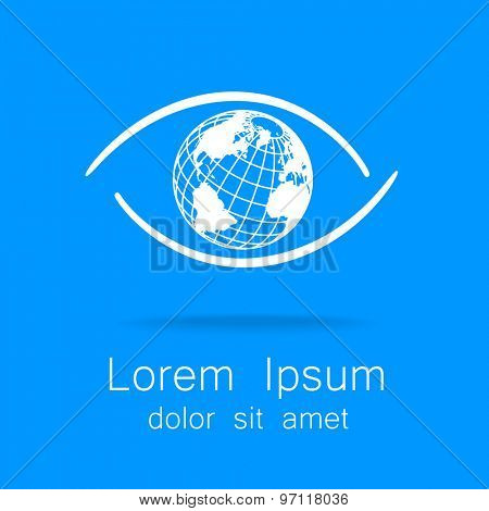 Sign of eye with globe inside. Template logo for the company, association, foundation, association.