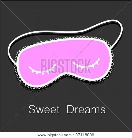 Sleep mask. Night accessory to sleep, travel and recreation.