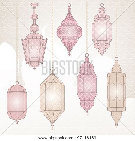 Set with vector illustration of oriental lanterns
