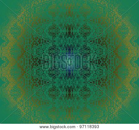 Seamless pattern green gold