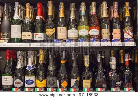 Shelves With Wine In Central Festival Pattaya Beach Mall. Pattaya, Thailand