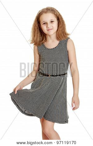 The girl in the gray dress