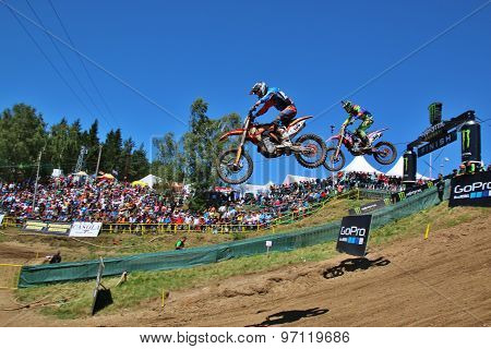 Loket Czech Republic - 26 July 2015: Motocross riders perform on the competes during the MXGP World Championship on July 26 2015 in Locket Czech Republic