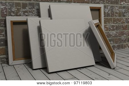 3d render of an Blank Canvas on exposed brick wall