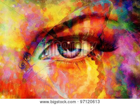 color butterflies and woman eye, mixed medium, abstract color background.