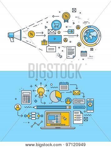 Set of thin line flat design concepts for internet marketing, advertising, social media, website des