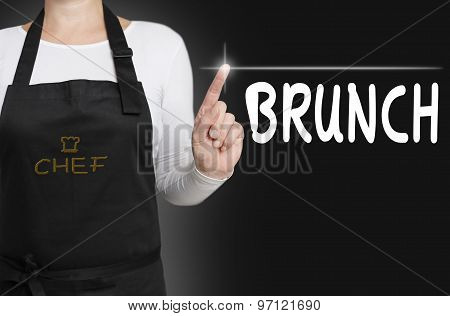 Brunch Food Touchscreen Is Operated By Cook