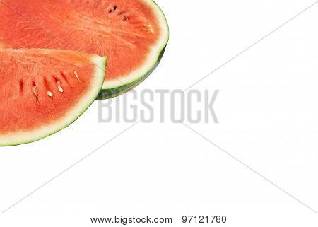 Slices Of Watermelon Isolated On White Background With Space For Text