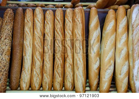 French Bread Group Closeup Photograph