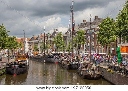Festival Of Old Ships In The Center Of Groningen