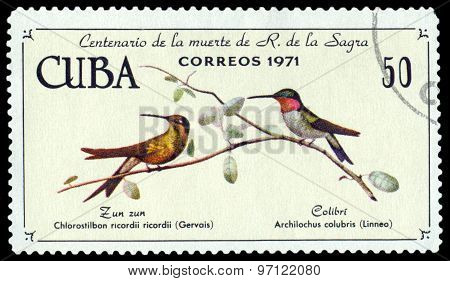 Vintage  Postage Stamp.  Cuban Emerald  And  Ruby-throated Hummingbird.