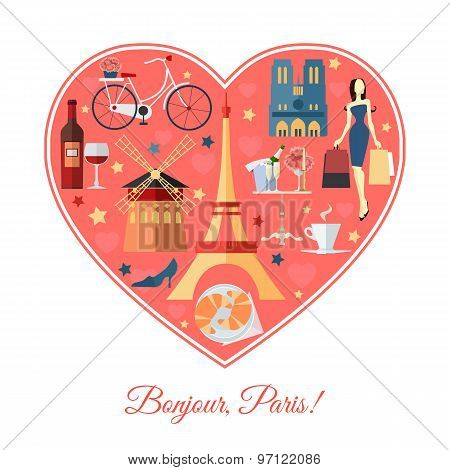 Bonjour, Paris. France travel background with place for text. Isolated heart shape with France flat