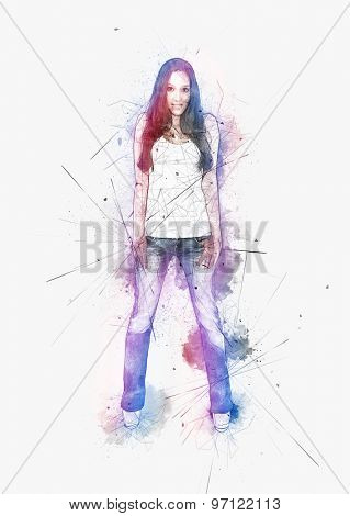 Artistic portrait of a young woman with attitude standing smiling at the camera with her thumbs hooked in the pockets of her jeans surrounded by colorful paint splatter
