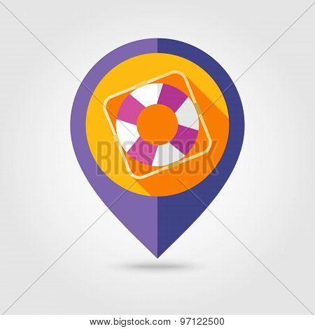 Lifebuoy Flat Mapping Pin Icon With Long Shadow