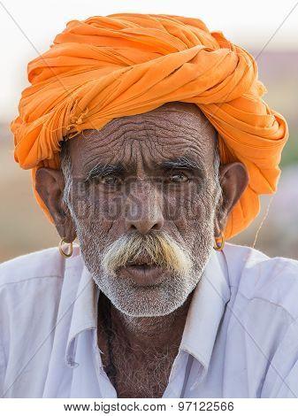 Indian man attended the annual Pushkar Camel Mela.