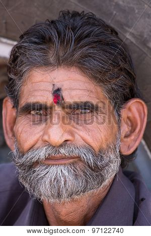 Poor Indian Man Attended The Annual Pushkar Camel Mela. India