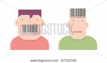 Heads With Barcodes
