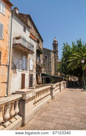 Street View With Bell Tower. Sartene, Corsica