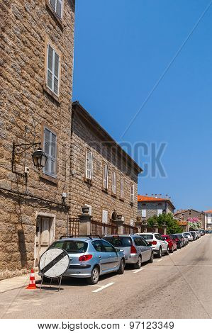 Street View With Parked Cars. Sartene, Corsica