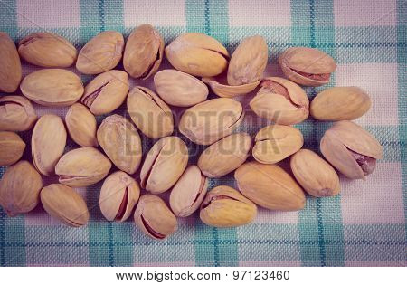 Vintage Photo, Pistachio Nuts On Checkered Tablecloth, Healthy Eating