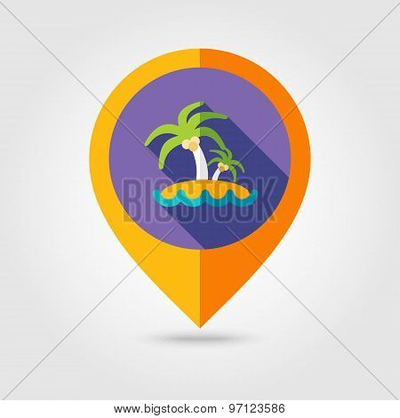 Island With Palm Trees Flat Mapping Pin Icon