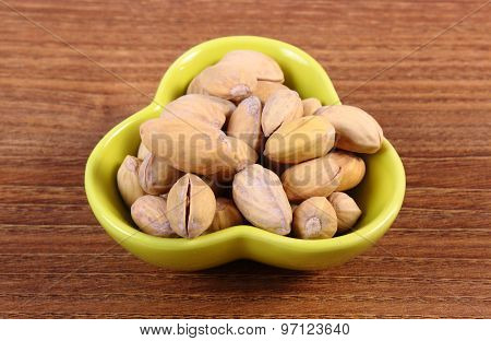 Pistachio Nuts In Bowl On Wooden Table, Healthy Eating