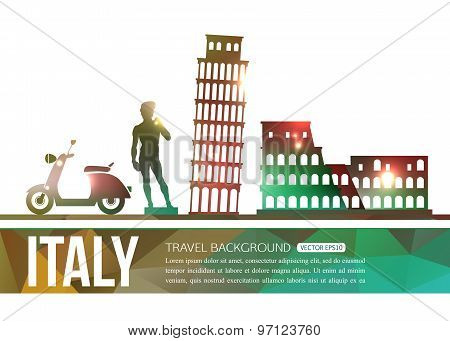 Italy travel background with place for text. Isolated Italy shining sightseeings and symbols. Geomet