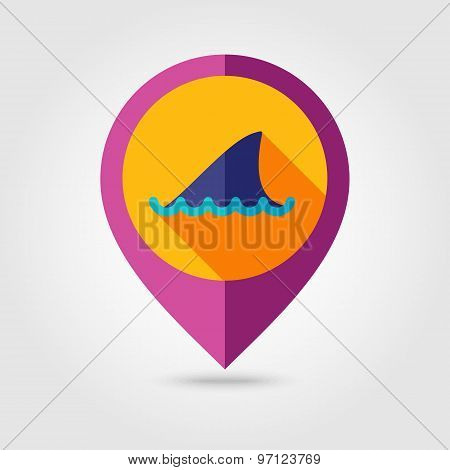 Shark Fin Flat Mapping Pin Icon With Long Shadow