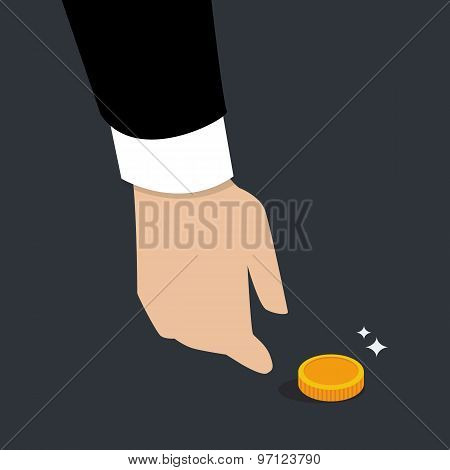 Business Hand Pick Up A Coin