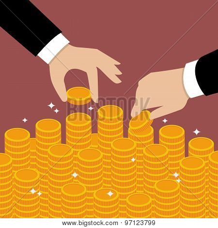 Business Hands Put Coin