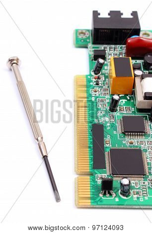 Printed Circuit Board And Precision Tools On White Background, Technology