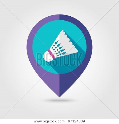 Shuttlecock Badminton Sport Flat Mapping Pin Icon