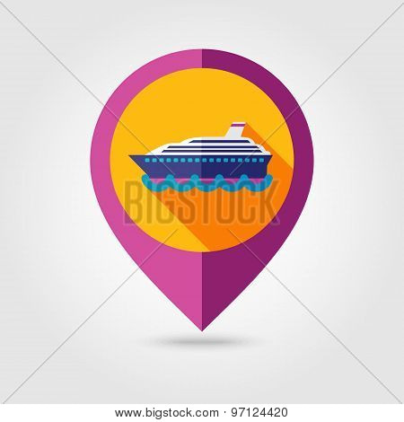 Cruise Liner Ship Flat Mapping Pin Icon