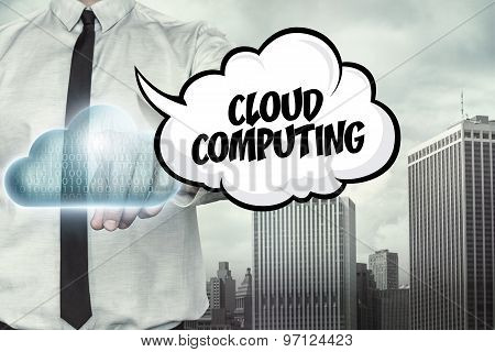 Cloud computing text on cloud computing theme with businessman