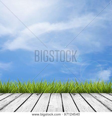 Wooden Floor And Grass Under Sky