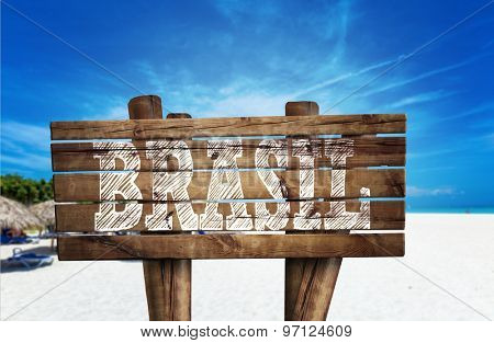 Brasil wooden sign on the beach