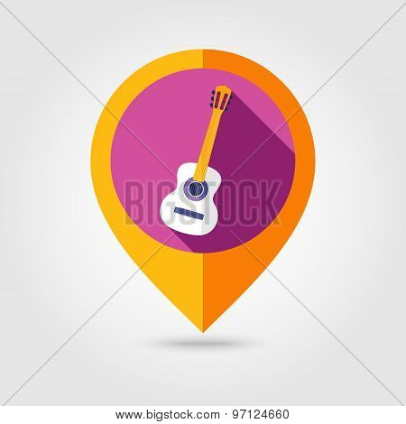 Guitar Beach Flat Mapping Pin Icon