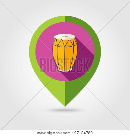 Drum Flat Mapping Pin Icon With Long Shadow