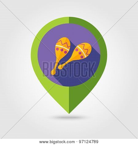 Maracas Flat Mapping Pin Icon With Long Shadow